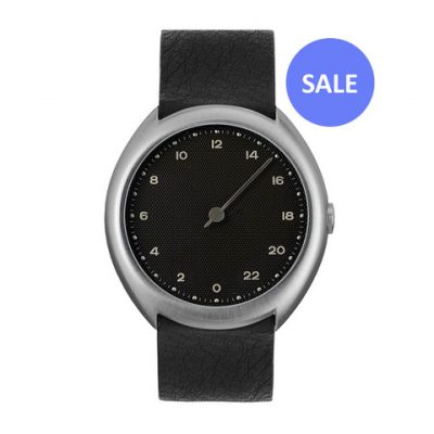 slow O 05 - silver Swiss 24 hour one hand wrist watch, stainless steel case, black leather band - Front SALE